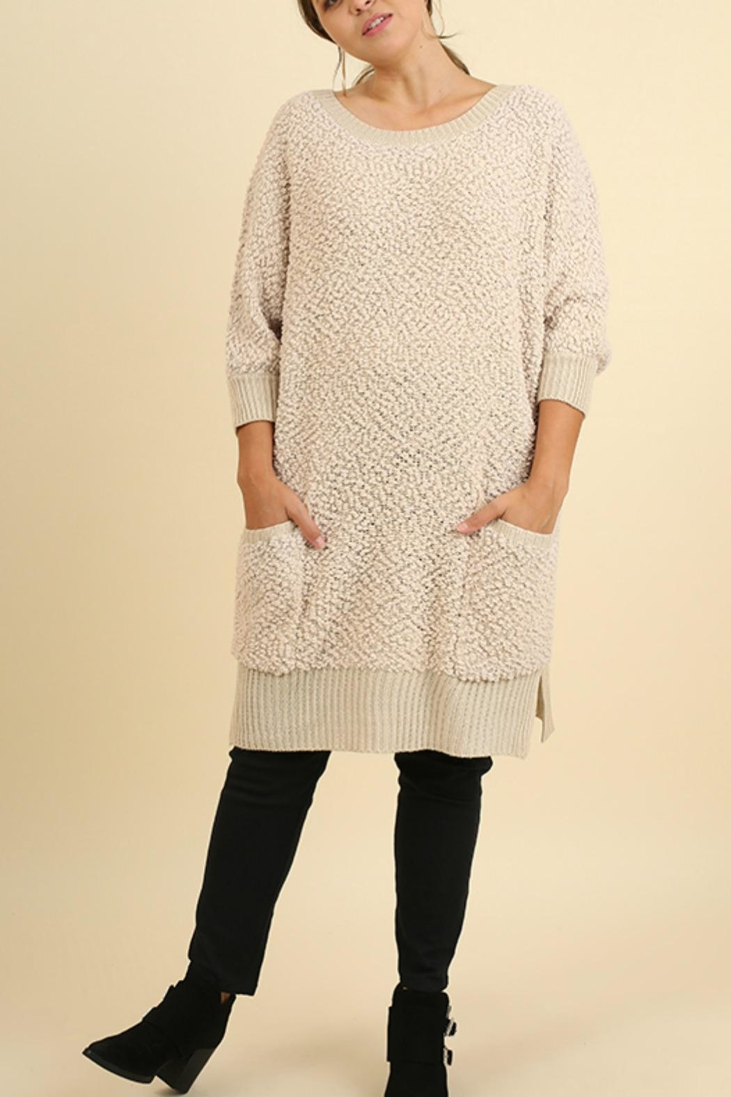 Umgee USA Cozy Bohemian Sweater - Front Cropped Image