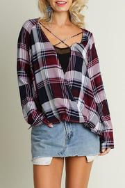 Umgee USA Crisscross Plaid Top - Front cropped