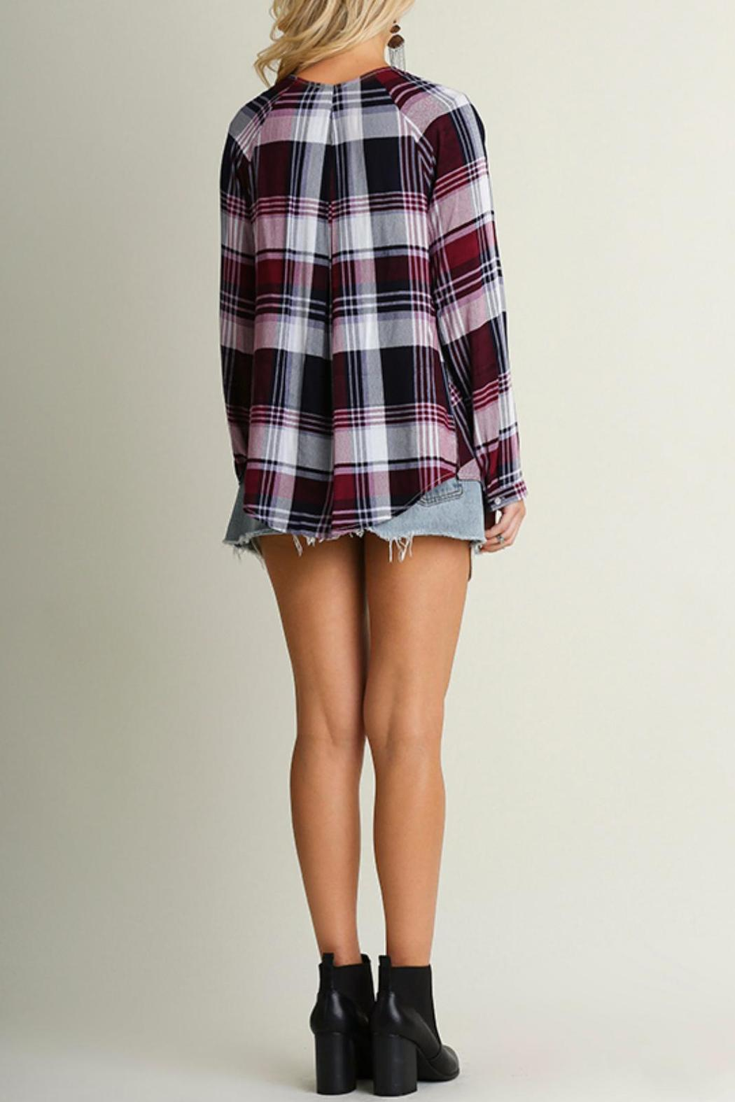 Umgee USA Crisscross Plaid Top - Side Cropped Image