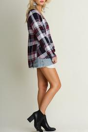 Umgee USA Crisscross Plaid Top - Front full body
