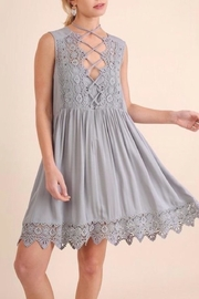 Umgee USA Crochet Detail Dress - Front cropped