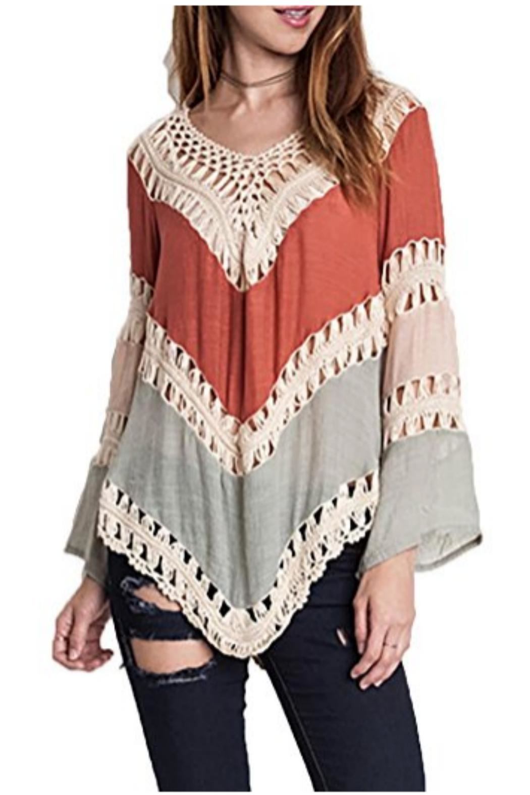 Umgee USA Crochet-Lace Color-Block Tunic - Front Cropped Image
