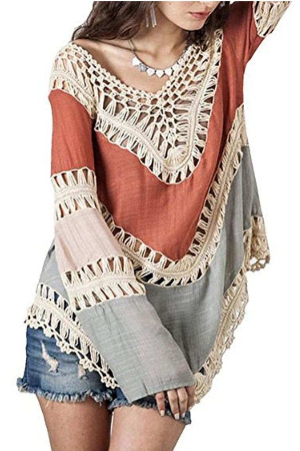 Umgee USA Crochet-Lace Color-Block Tunic - Side Cropped Image