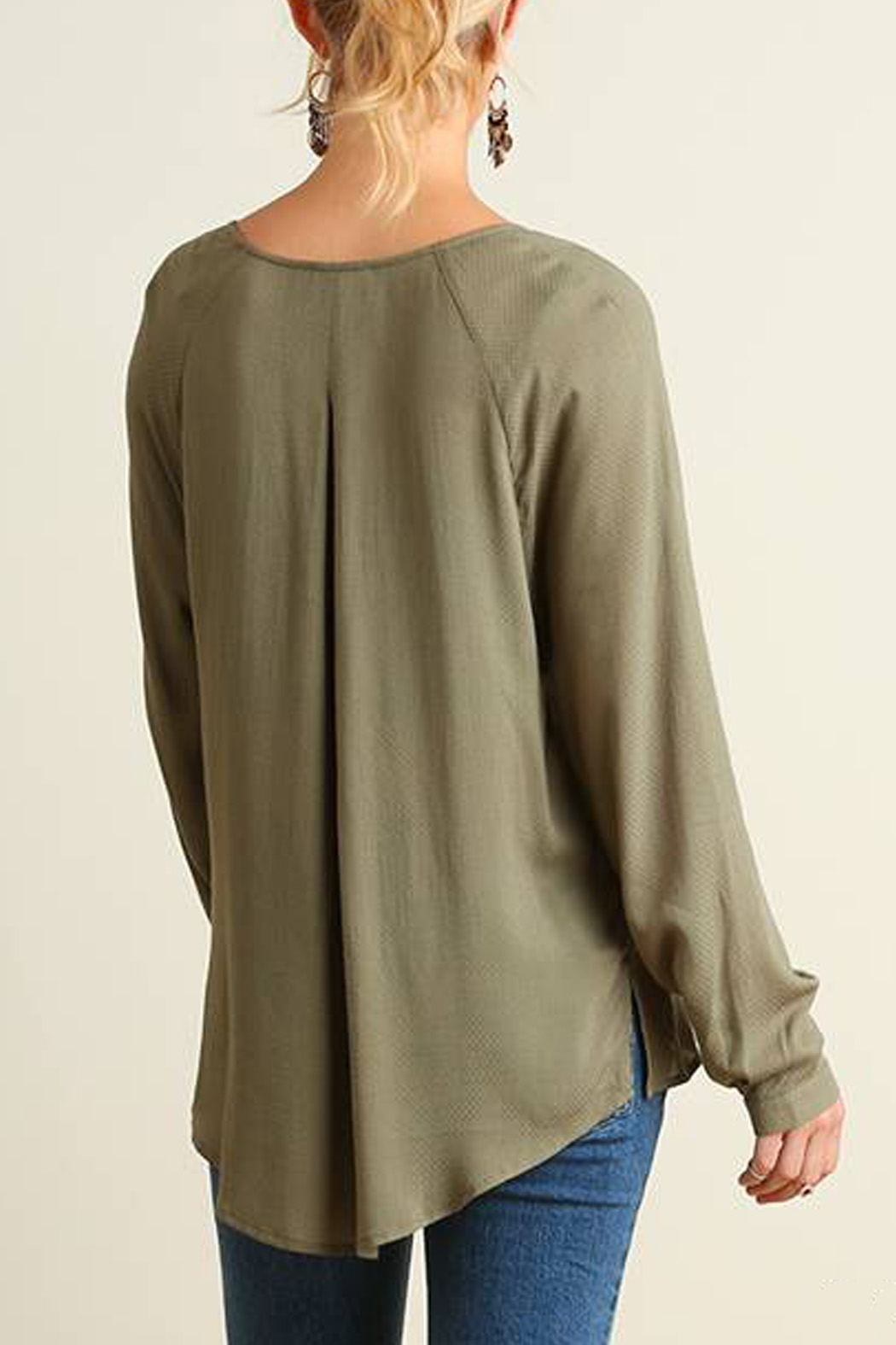 Umgee USA Crossed High Low Blouse - Back Cropped Image