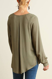 Umgee USA Crossed High Low Blouse - Back cropped