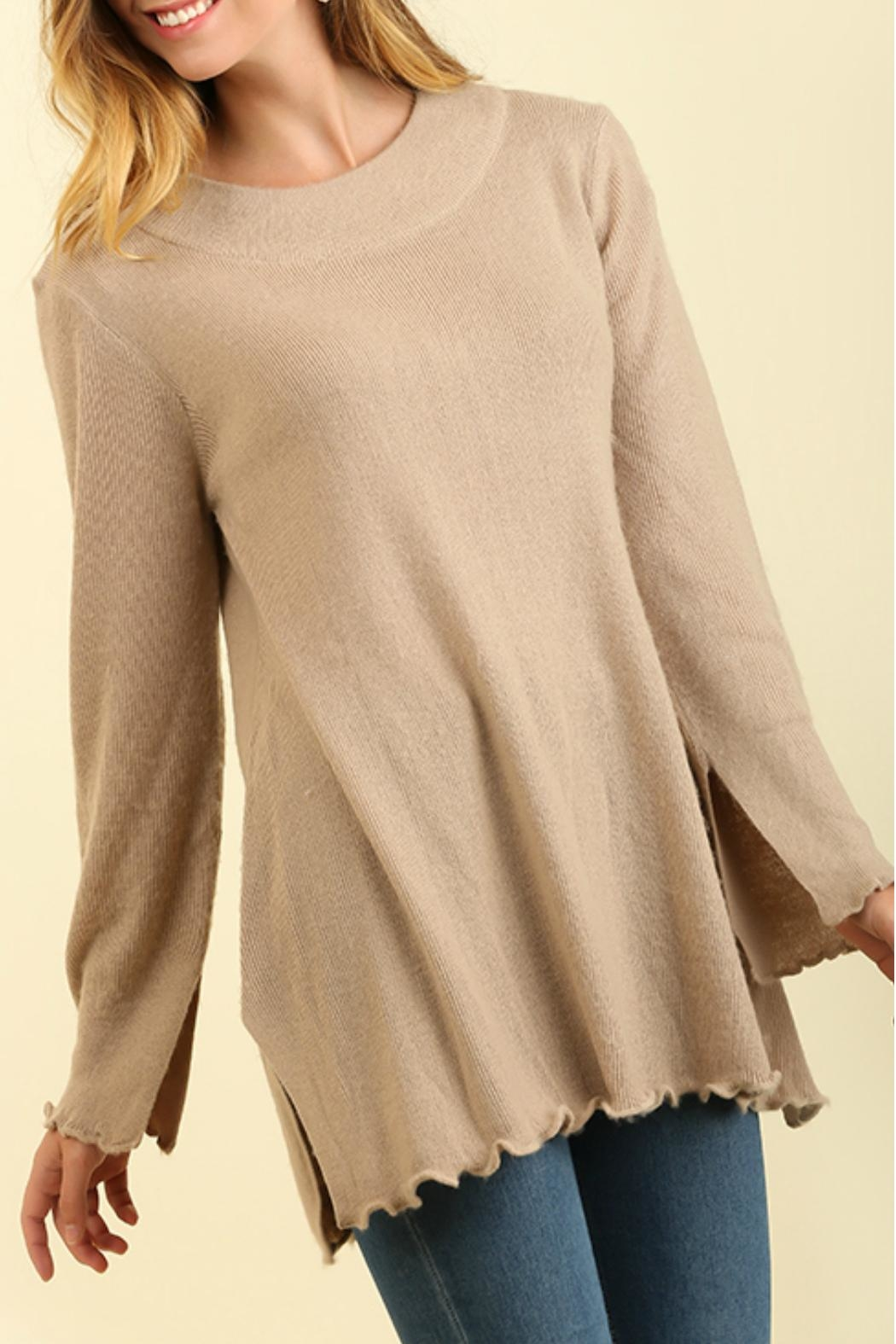 Umgee USA Curly Hemmed Sweater - Front Full Image