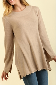 Umgee USA Curly Hemmed Sweater - Front full body