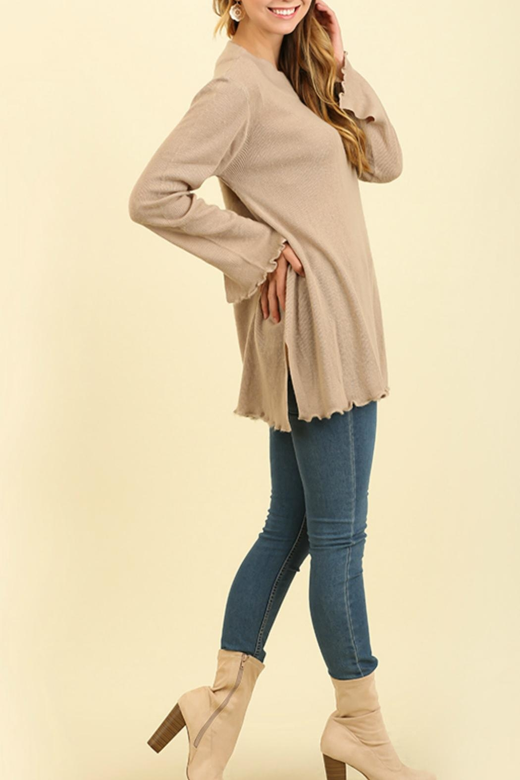 Umgee USA Curly Hemmed Sweater - Side Cropped Image