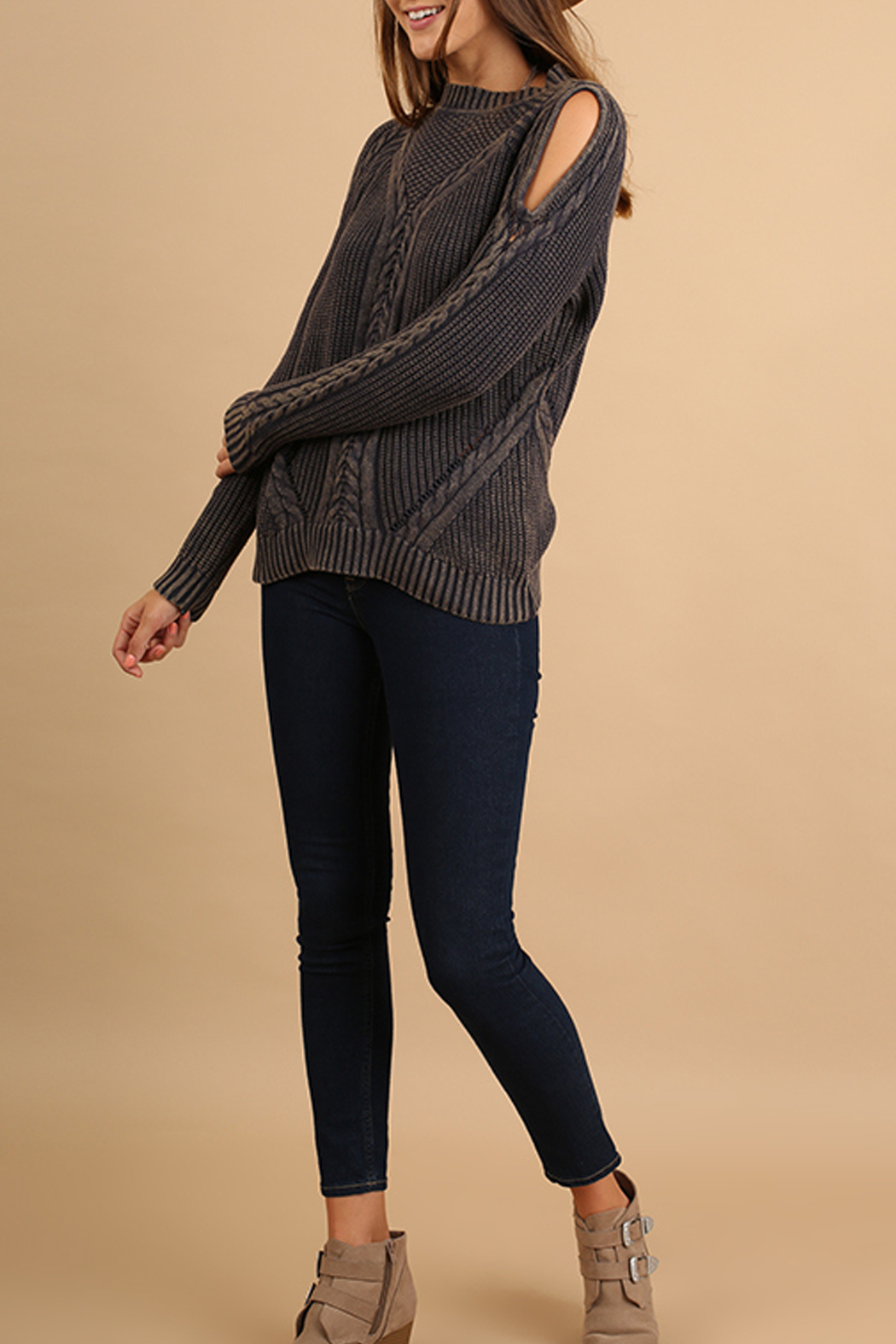Umgee USA Cutout Knit Sweater - Main Image