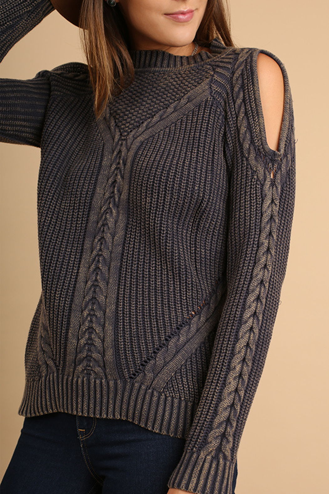 Umgee USA Cutout Knit Sweater - Front Full Image