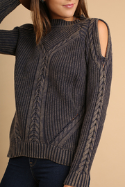 Umgee USA Cutout Knit Sweater - Front full body
