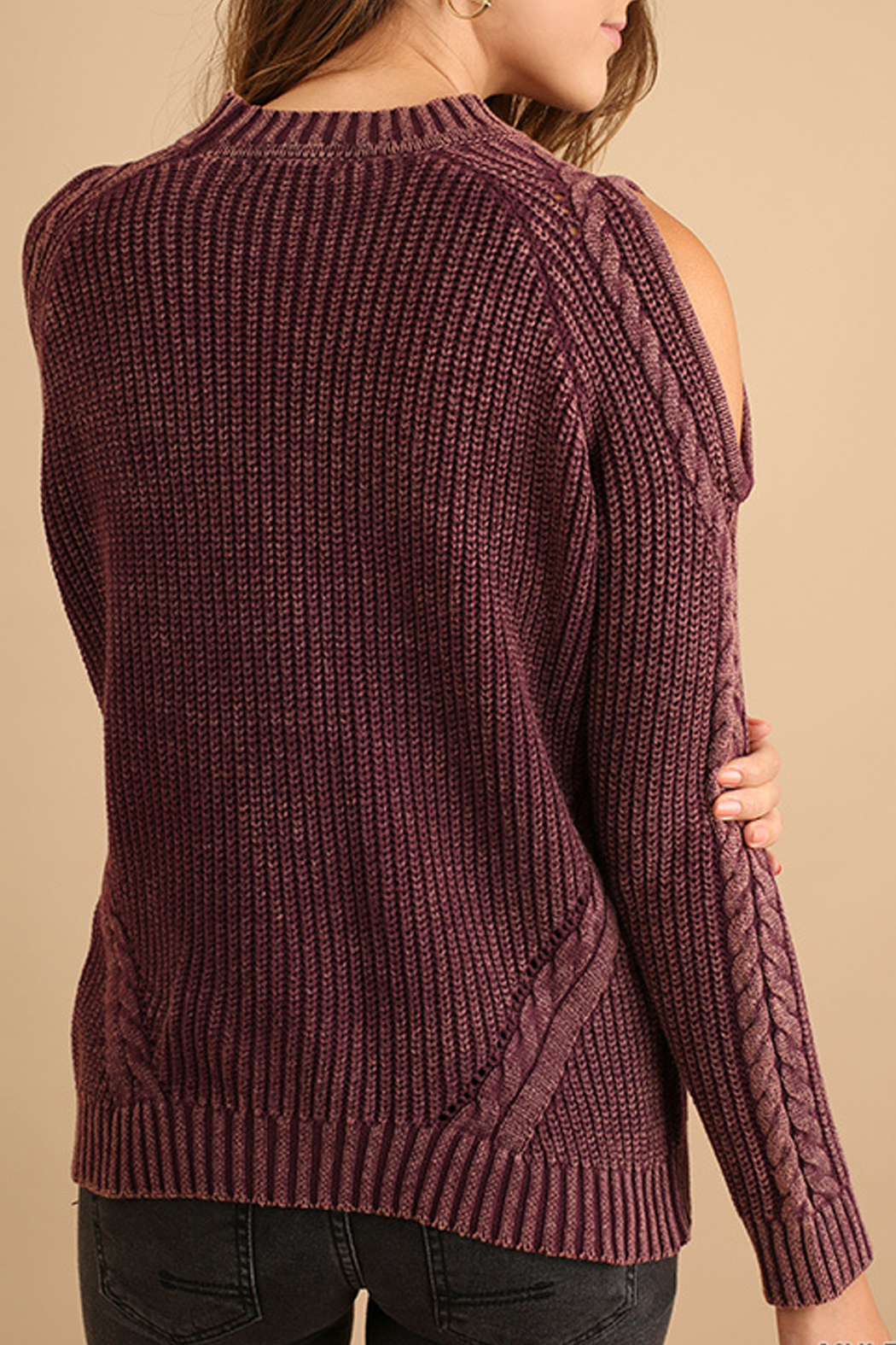 Umgee USA Cutout Knit Sweater - Back Cropped Image