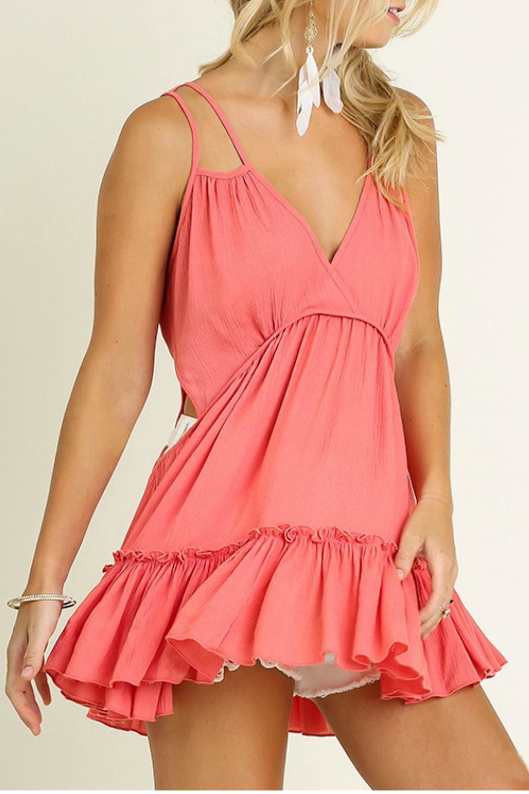 Umgee USA Deep V With Ruffle - Front Cropped Image