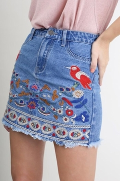 Shoptiques Product: Denim Embroidered Skirt