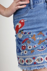 Umgee USA Denim Embroidered Skirt - Front full body