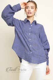 Umgee USA Denim Plaid Button-Up - Front cropped