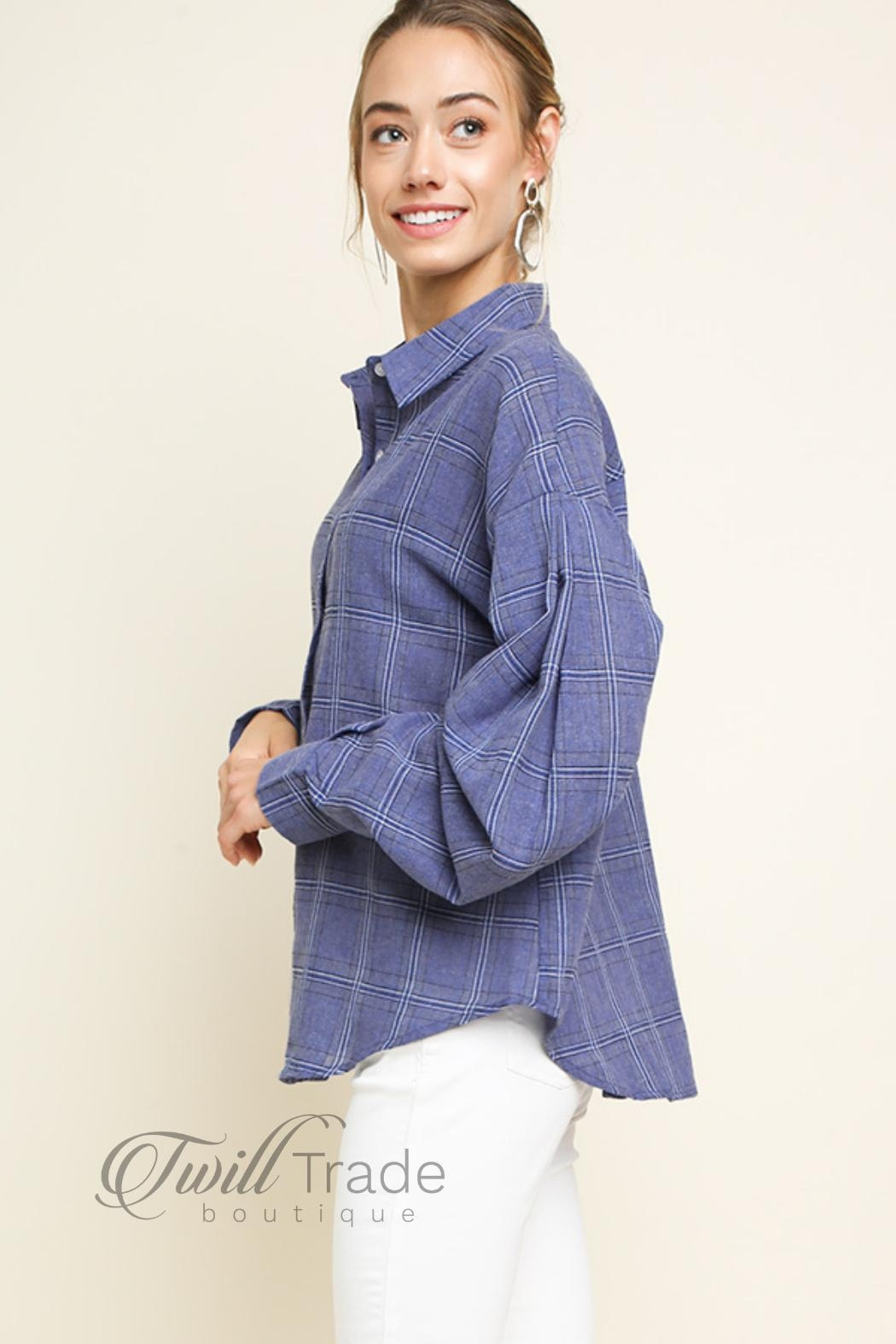 Umgee USA Denim Plaid Button-Up - Front Full Image