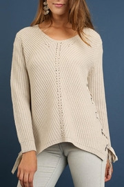 Umgee USA Diagonal Cable Sweater - Front cropped