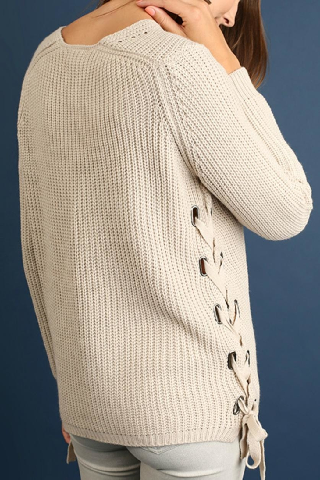 Umgee USA Diagonal Cable Sweater - Front Full Image