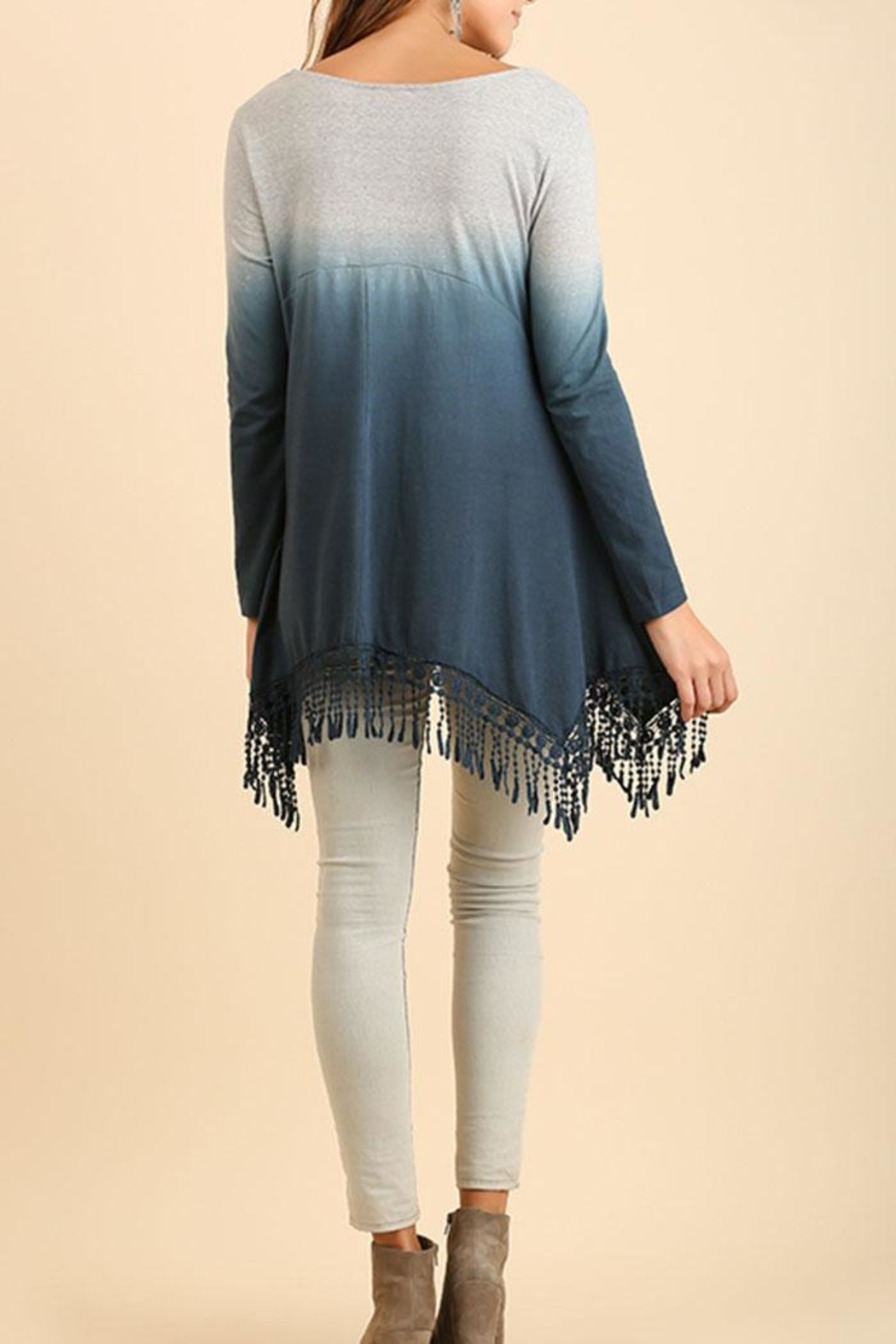 Umgee USA Dip-Dye Fringed Tunic - Back Cropped Image