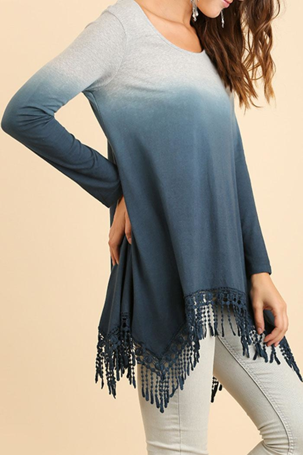 Umgee USA Dip-Dye Fringed Tunic - Side Cropped Image