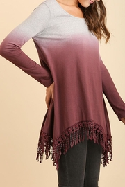 Umgee USA Dip-Dye Fringed Tunic - Front full body