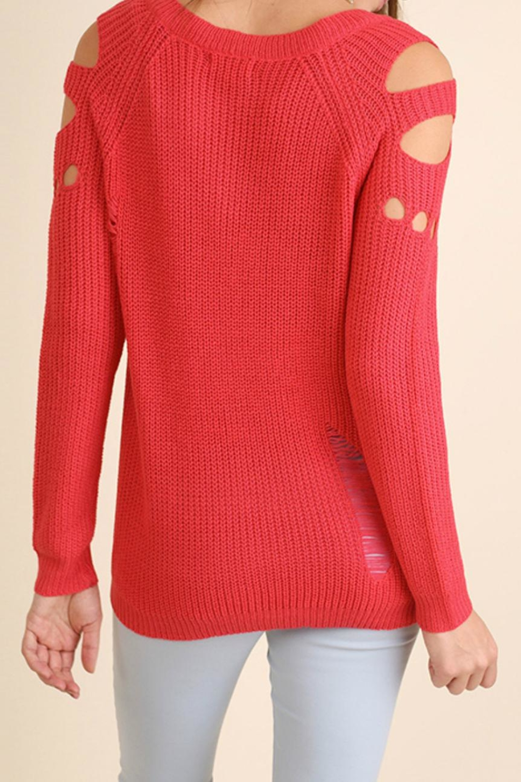 Umgee USA Distressed Cutout Sweater - Front Full Image