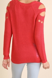Umgee USA Distressed Cutout Sweater - Front full body
