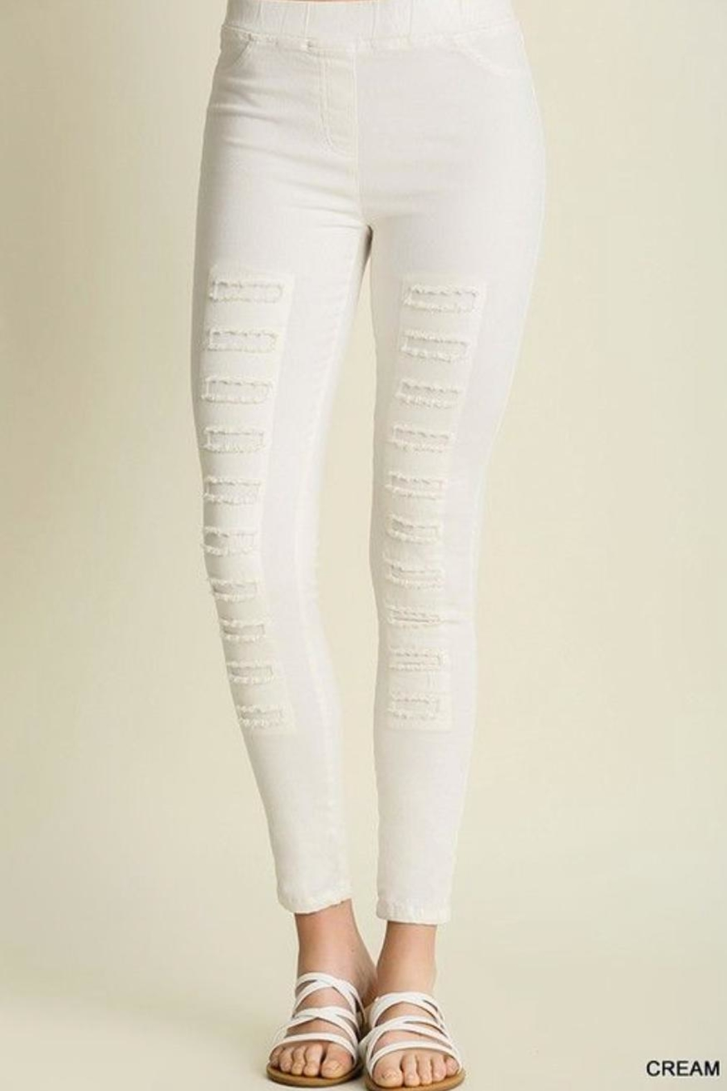 Umgee USA Distressed Jegging - Front Cropped Image