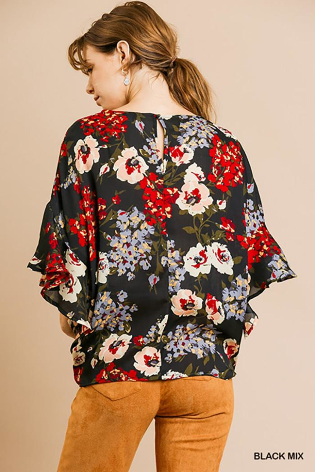 Umgee USA Dolman Sleeve V-Neck - Front Full Image