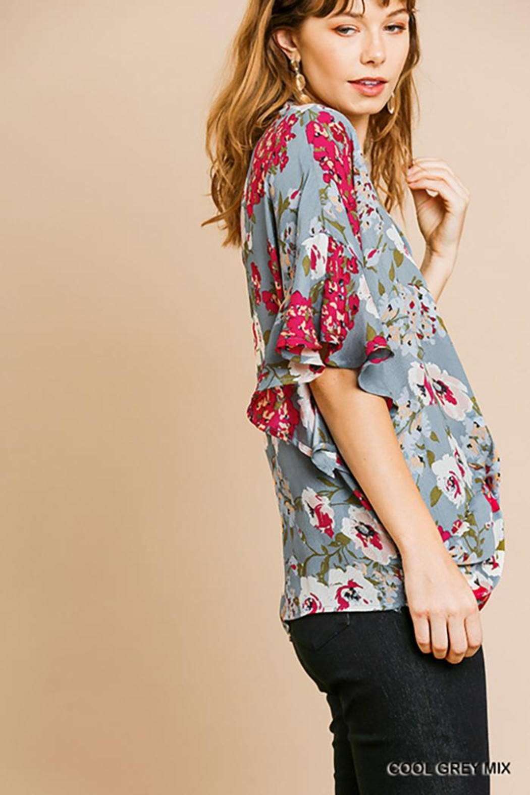 Umgee USA Dolman Sleeve V-Neck - Side Cropped Image