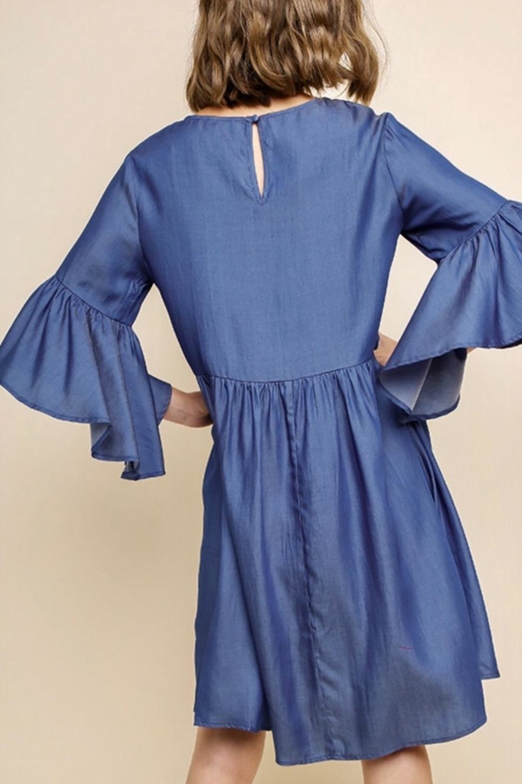 Umgee USA Embroidered Bell-Sleeve Dress - Front Full Image