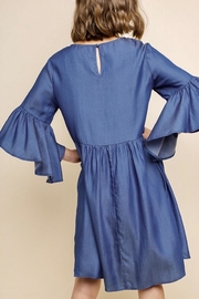 Umgee USA Embroidered Bell-Sleeve Dress - Front full body