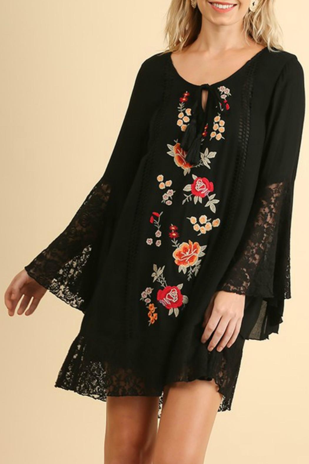 Umgee USA Embroidered Bell-Sleeve Dress - Main Image