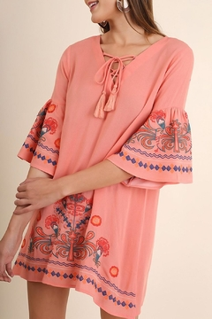 Shoptiques Product: Embroidered Bell-Sleeve Dress