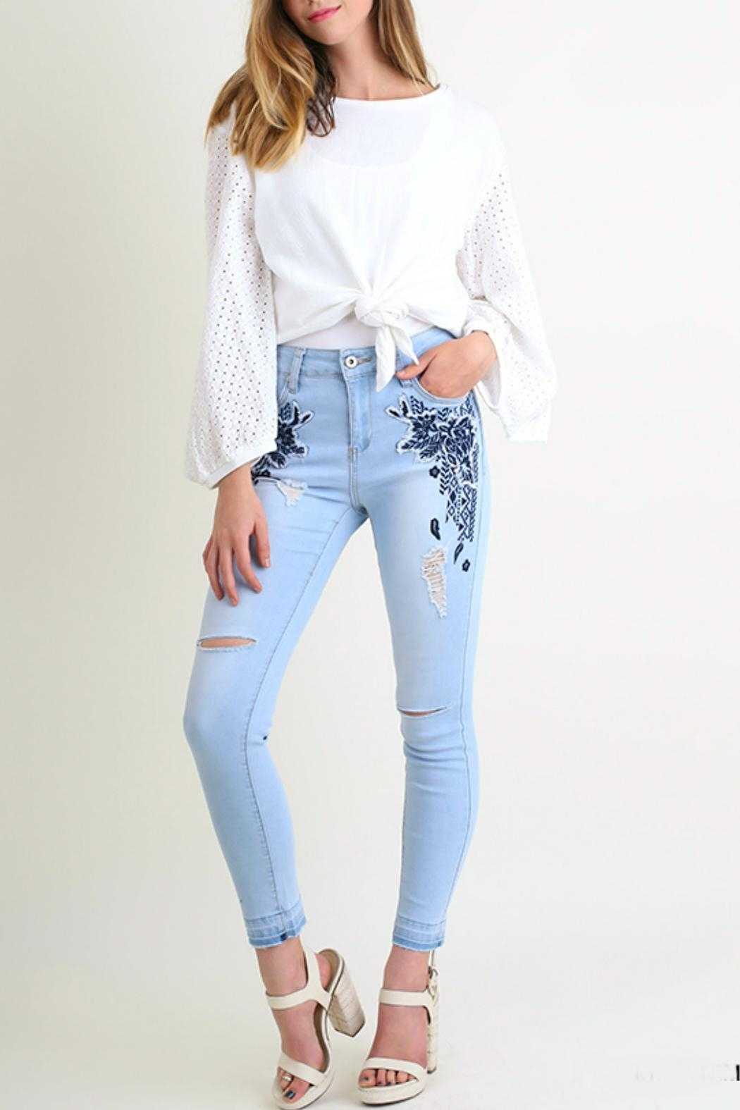 Umgee USA Embroidered-Distressed Skinny Jean - Main Image