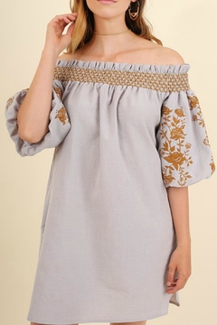 Shoptiques Product: Embroidered Grey Dress