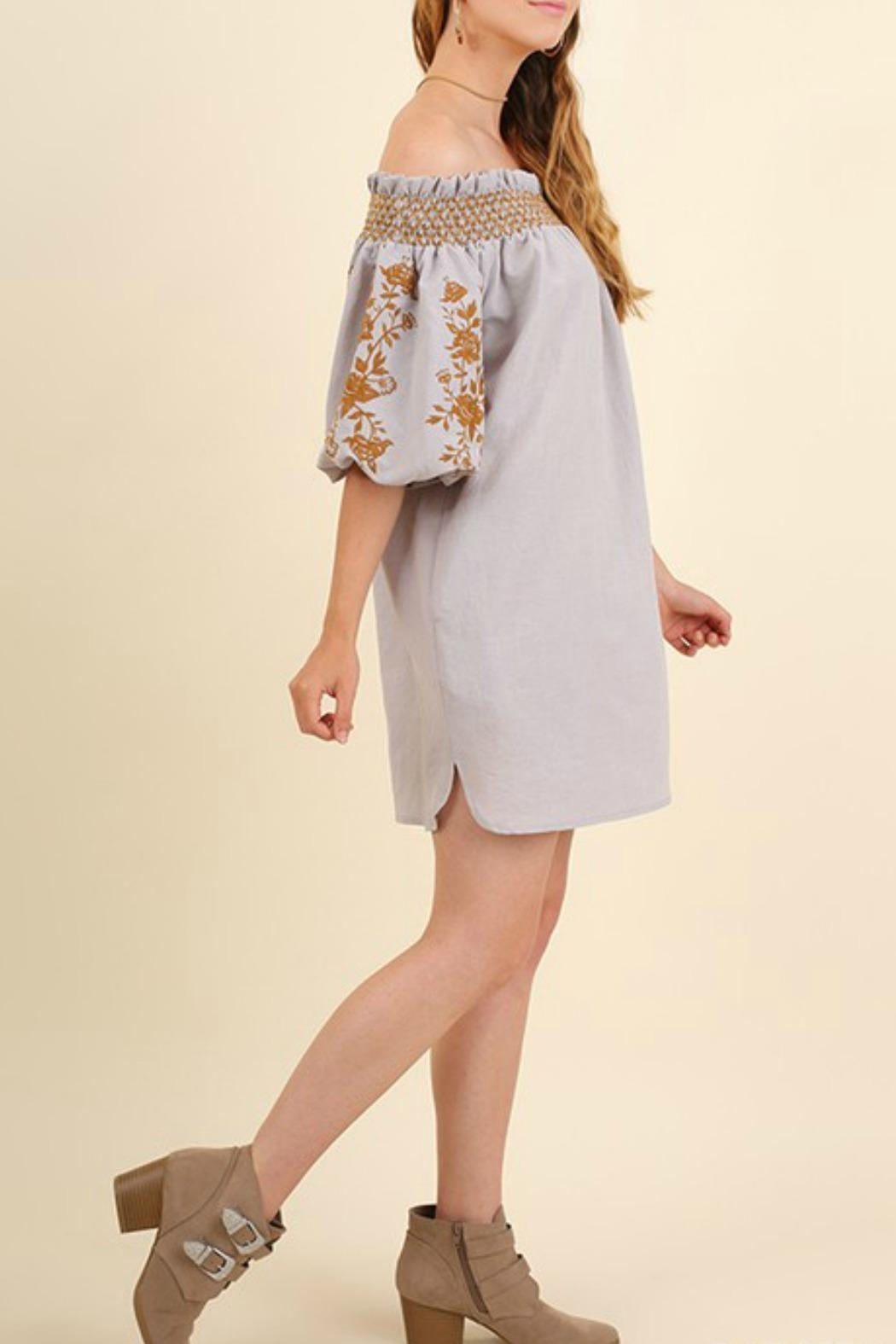 Umgee USA Embroidered Grey Dress - Front Full Image