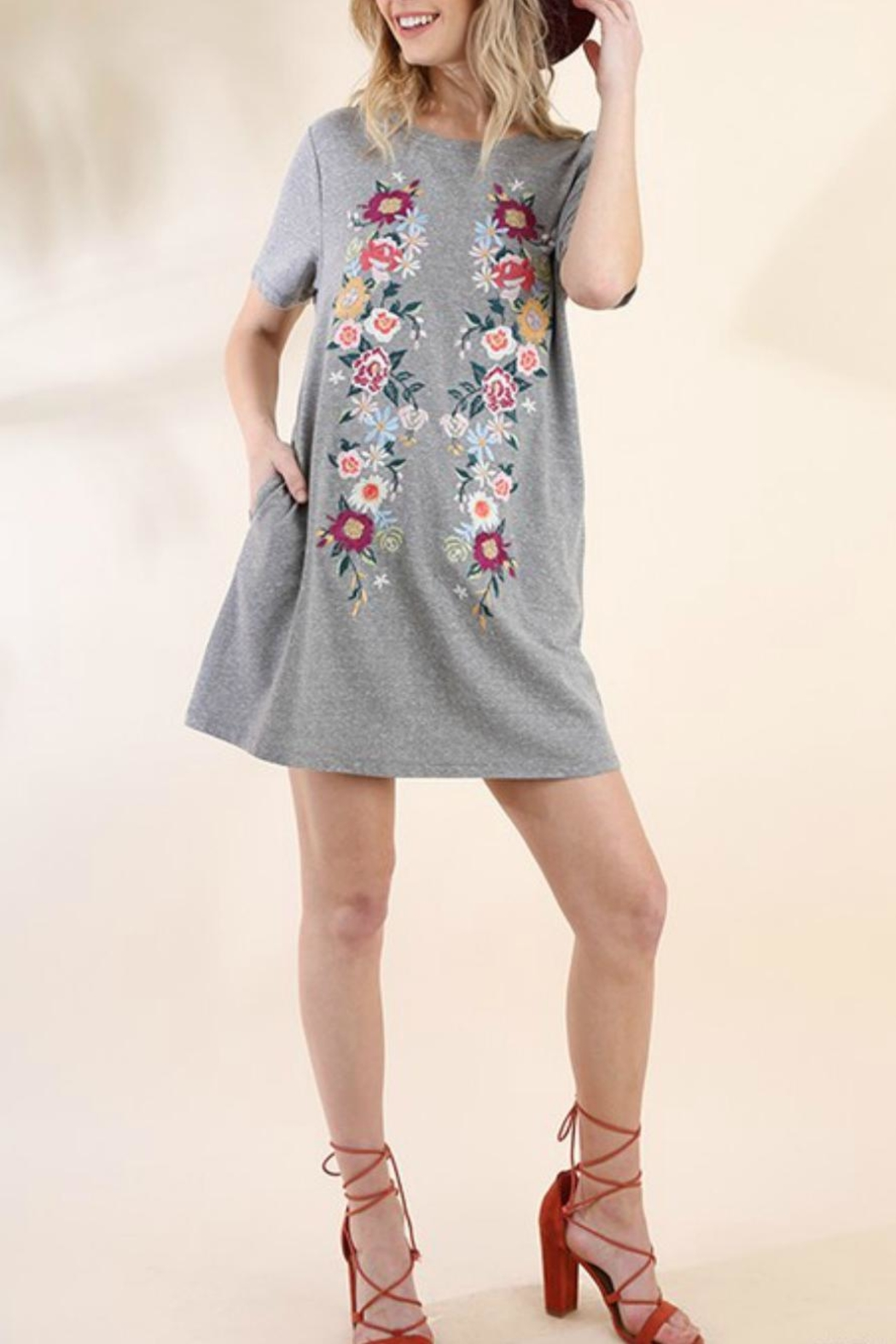 Umgee USA Embroidered Knit T-Dress - Front Cropped Image