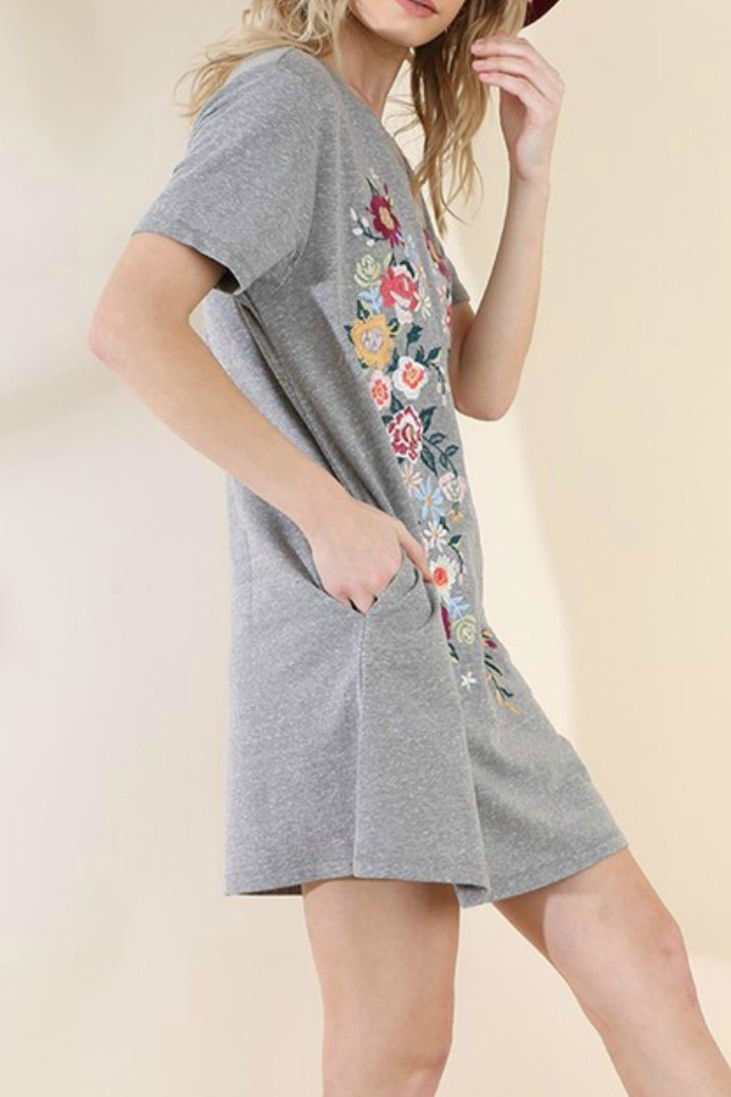 Umgee USA Embroidered Knit T-Dress - Front Full Image
