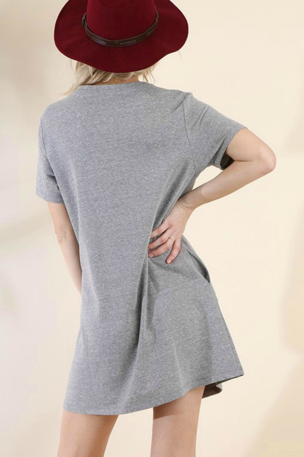 Umgee USA Embroidered Knit T-Dress - Back Cropped Image