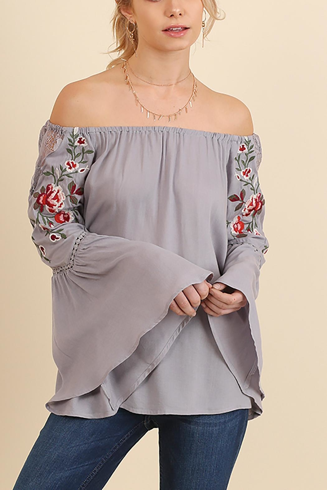 Umgee USA Embroidered Off Shoulder - Front Cropped Image