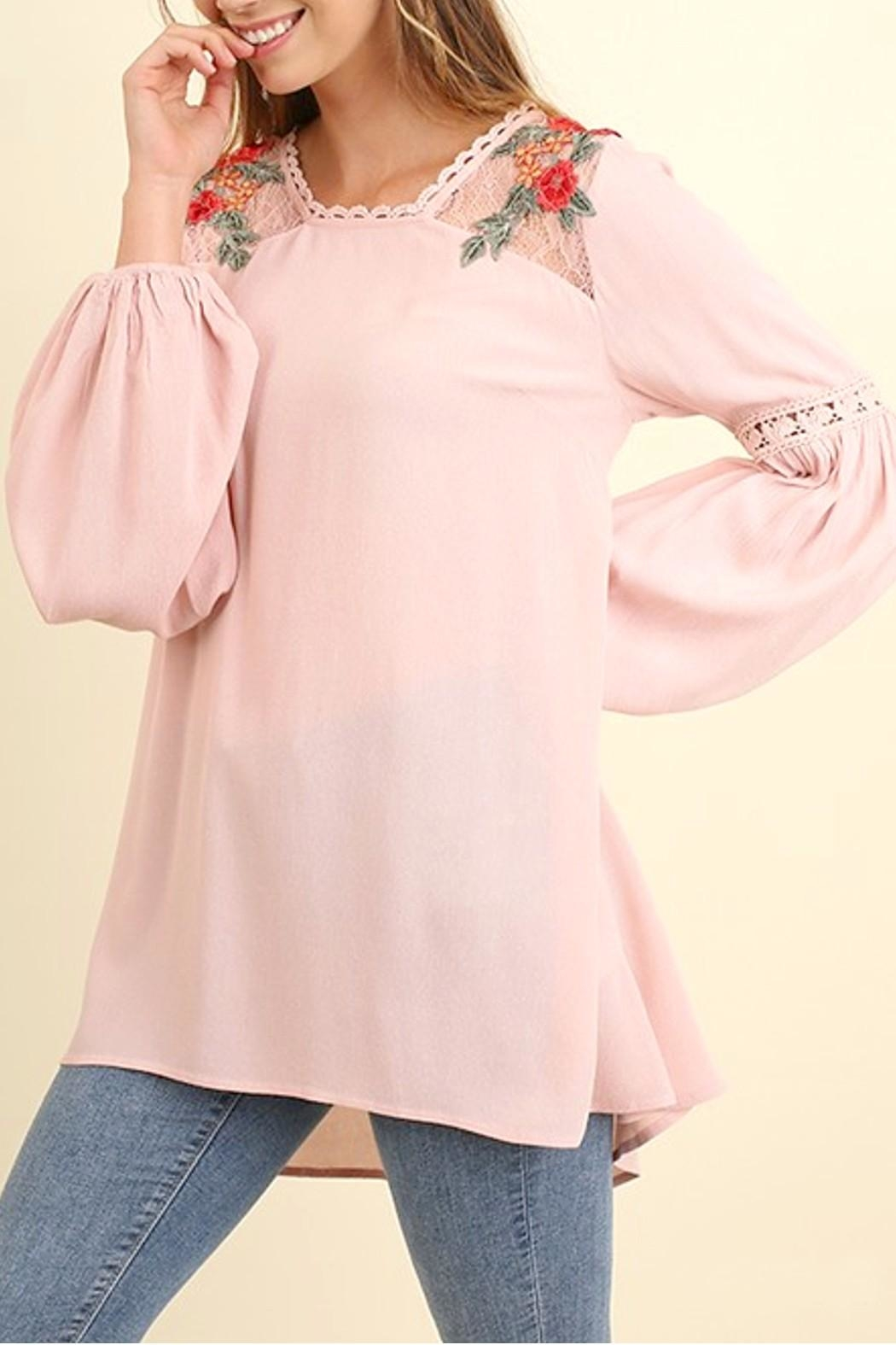 Umgee USA Embroidered Puff Sleeve - Front Full Image