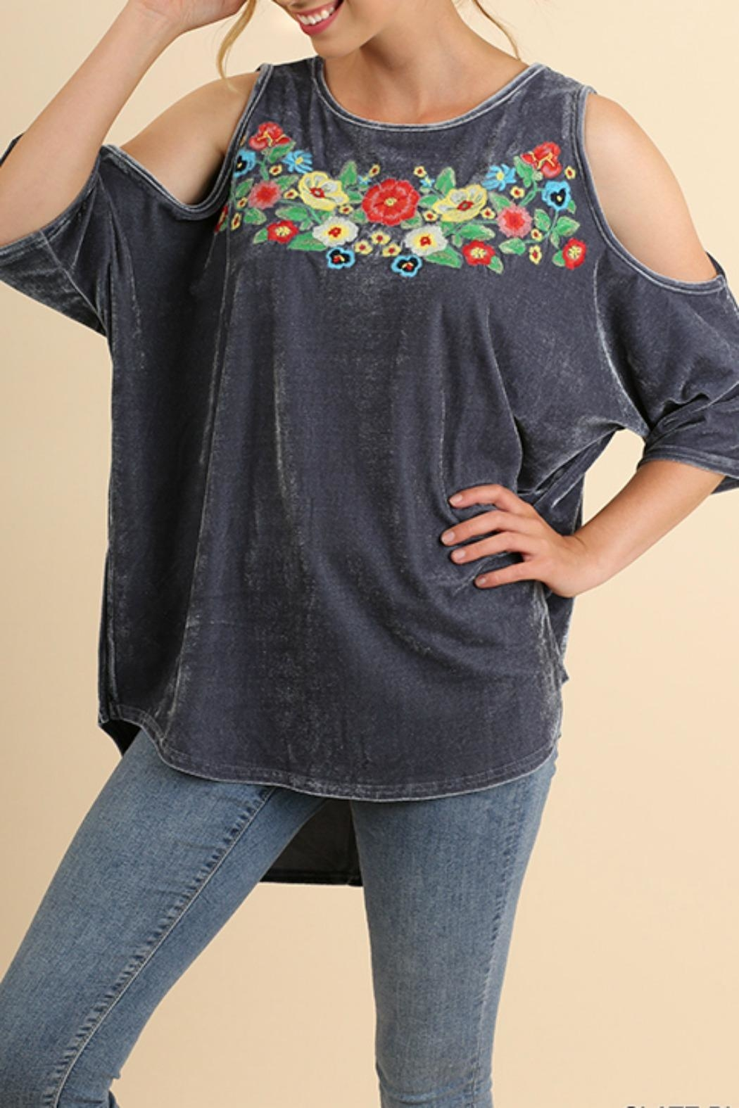 Umgee USA Embroidered Velvet Top - Front Full Image