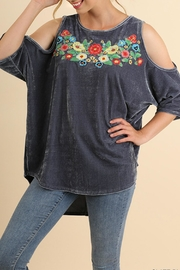 Umgee USA Embroidered Velvet Top - Front full body