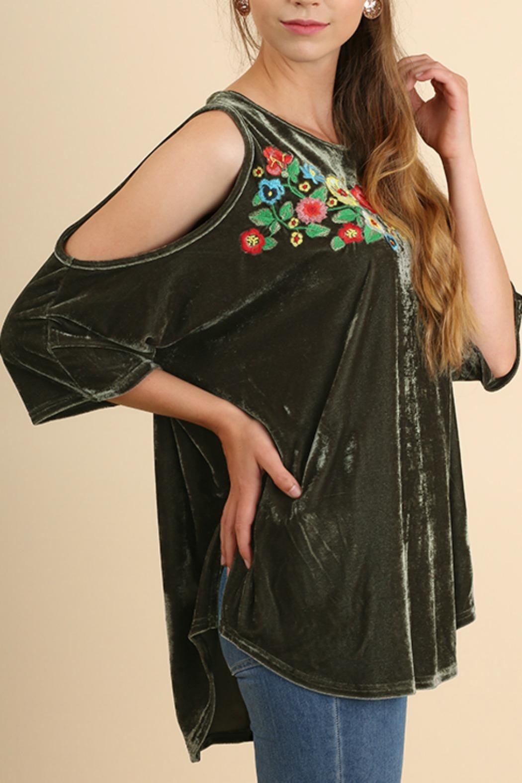 Umgee USA Embroidered Velvet Top - Front Cropped Image