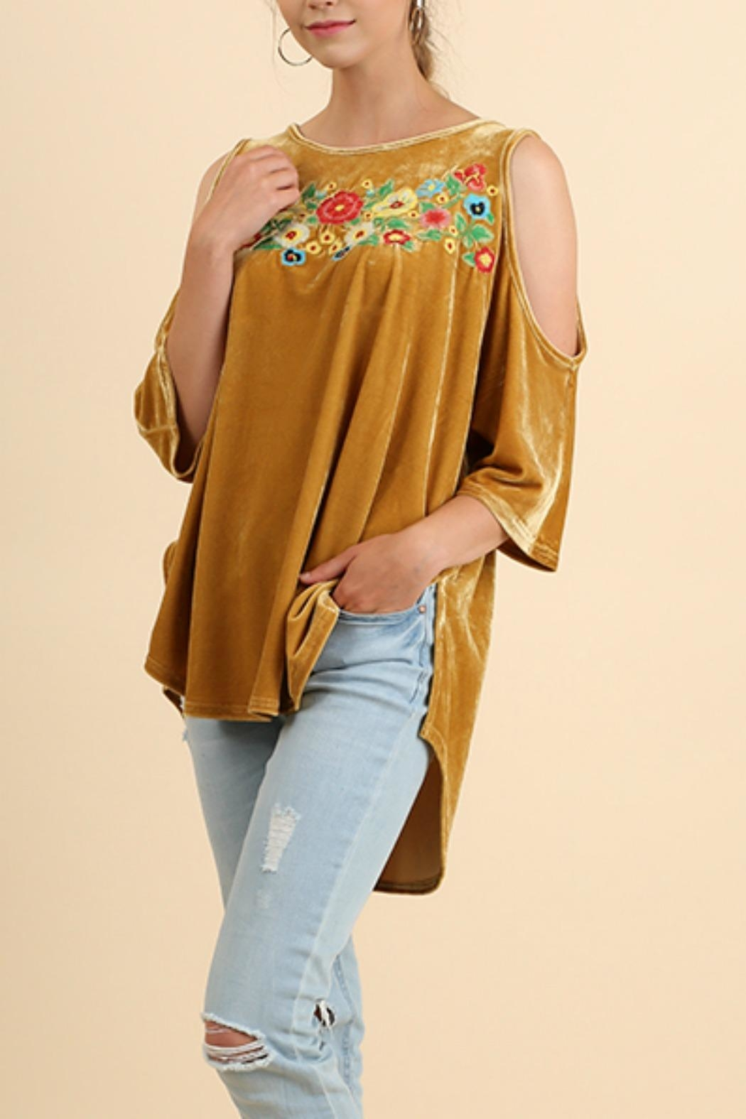 Umgee USA Embroidered Velvet Top - Main Image