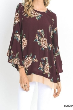 Umgee USA Fall Floral Bell Sleeve Top - Product List Image