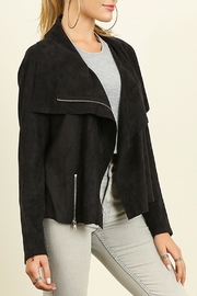 Umgee USA Faux Suede Moto Jacket - Front full body