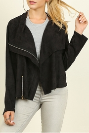 Umgee USA Faux Suede Moto Jacket - Front cropped